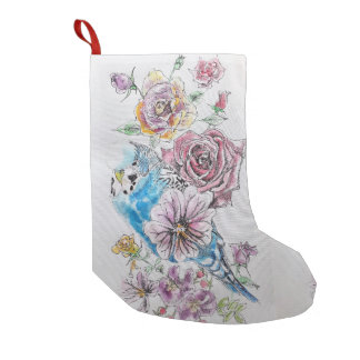 Blue Budgie & Red Rose Flowers Floral Stocking