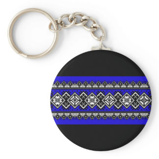 Blue Embroidery Keychain