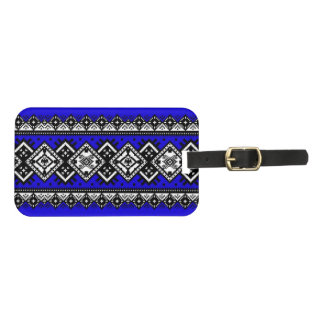 Blue Embroidery Luggage Tag