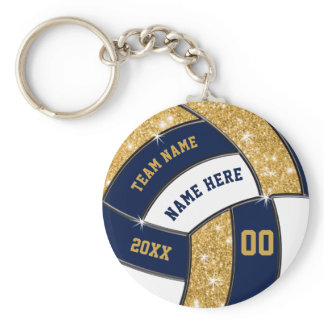 Blue, Gold, White Volleyball Gifts BULK or Buy One Keychain