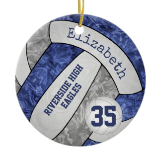 blue gray girly volleyball team colors ceramic ornament