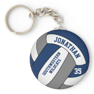 blue gray personalized boys' volleyball keychain