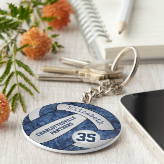 blue white school colors girls' volleyball keychain