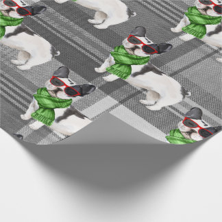 Boston Terrier and Plaid Christmas Wrapping Paper