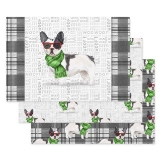 Boston Terrier Christmas Dog and Plaid Wrapping Paper Sheets