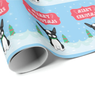 Boston Terrier Merry Christmas Wrapping Paper