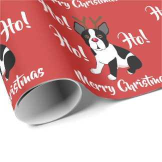 Boston Terrier Reindeer Christmas Wrapping Paper