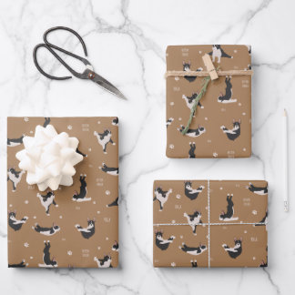 Boston Terrier Yoga Wrapping Paper Sheets
