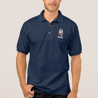 Bowling Coach with Balls and Pins Polo Shirt