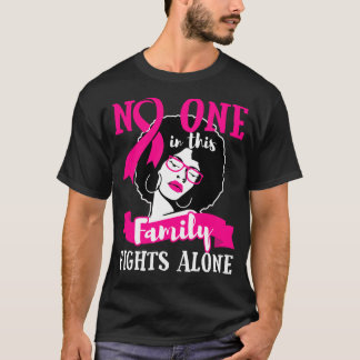 Breast Cancer Pink Ribbon African American Black T-Shirt