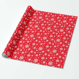 Bright Red and Winter White Snowflake Pattern Wrapping Paper