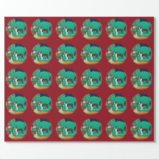 Brown Boston Terrier and Santa's Gift Wrapping Paper