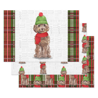 Brown Cockapoo Christmas Dog and Plaid Wrapping Paper Sheets