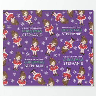 Brunette Christmas Dancer Wrapping Paper
