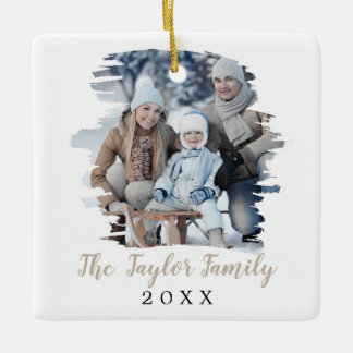 Brushed Tan Christmas Yearly Family Photo Ceramic Ornament
