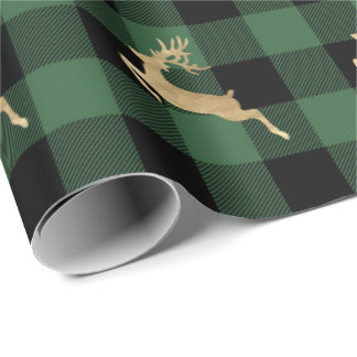Buffalo Plaid Lomberjack Gold Reindeer Green Wood Wrapping Paper