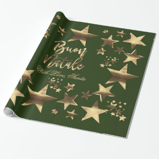 Buon Natale Stars Green Gold Script Christmas Wrapping Paper