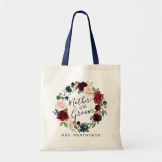 Burgundy Bouquet Wreath  Mother of the Groom Tote Bag