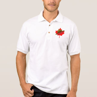 Canadian Mountie Hat on Red Maple Leaf Polo Shirt