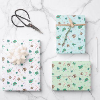 Candy Canes and Gingerbread House Pattern Wrapping Paper Sheets