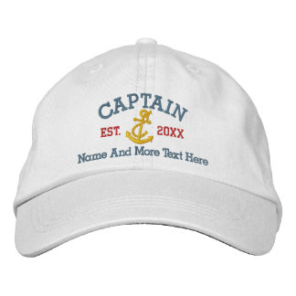 Captain With Anchor Personalized Embroidered Baseball Cap