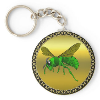 Cartoon green and lime bee with gold foil keychain