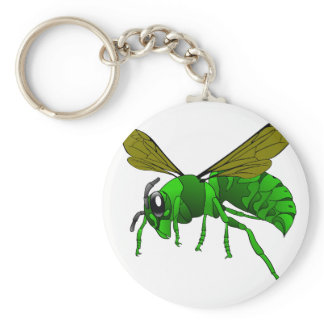 Cartoon green and lime hornet wasp bee keychain