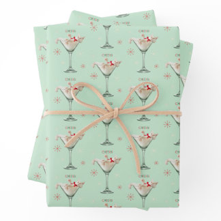 Cat in Martini Glass Wrapping Paper Sheets
