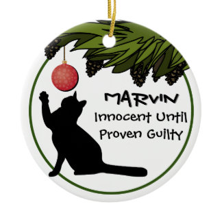 Cat in the Christmas Tree Funny Personalized Ceramic Ornament