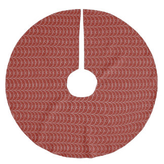 Cayenne red and silver  brushed polyester tree skirt