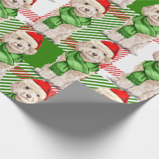 Champagne Cockapoo and Plaid Christmas Holiday Wrapping Paper