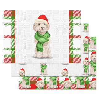 Champagne Cockapoo Christmas Dog and Plaid Wrapping Paper Sheets