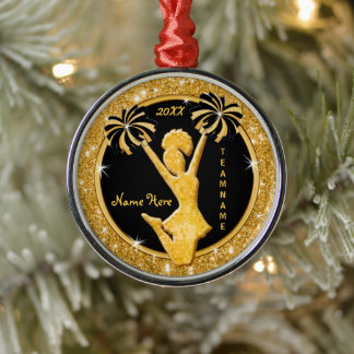 Cheerleading Christmas Ornaments, Black and Gold Metal Ornament