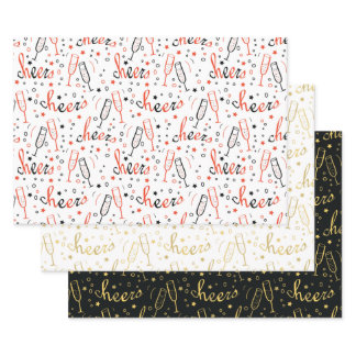 Cheers Champagne Christmas and New Year Wrapping Paper Sheets