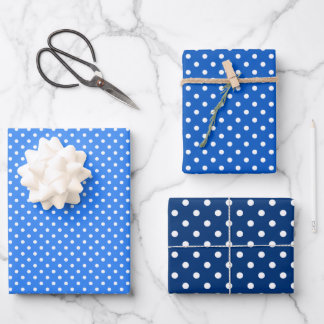 Chic Sky Blues White Polka Dots Pattern Wrapping Paper Sheets