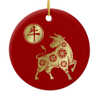 Chinese New Year of the Ox 2021 Ceramic Ornament