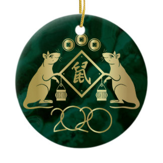 Chinese New Year of the Rat - Malachite and Gold Ceramic Ornament