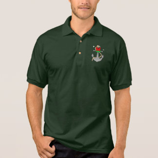 Christmas Anchor with Mistletoe and Red Bow Polo Shirt