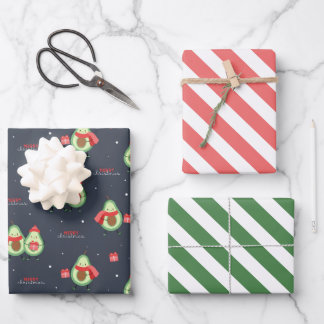 Christmas Avocados Wrapping Paper Set of 3