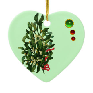 CHRISTMAS BANJO WITH MISTLETOES AND HOLLY BERRIES CERAMIC ORNAMENT