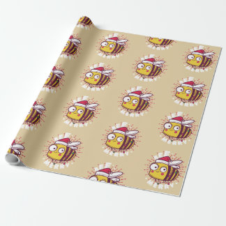Christmas bee cartoon wrapping paper design