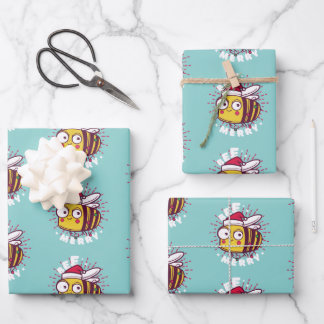 Christmas bee cartoon wrapping paper sheets design