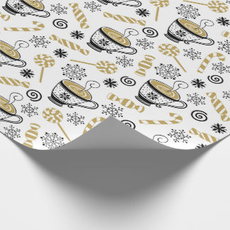 Christmas Black Gold White Coffee Cup Candy Wrapping Paper