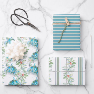 Christmas Botanical Leaves & Sea Turtle Watercolor Wrapping Paper Sheets