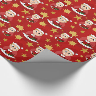 Christmas boy cartoon wrapping paper