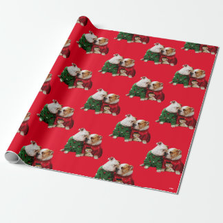 Christmas Bulldogs in Sweaters Wrapping Paper