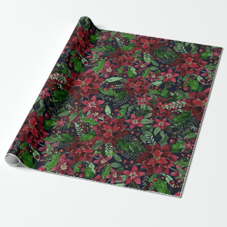 Christmas Burgundy Poinsettia Flowers Watercolor Wrapping Paper
