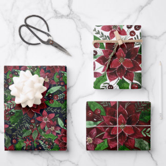 Christmas Burgundy Poinsettia Flowers Watercolor Wrapping Paper Sheets