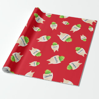 Christmas Cactus Plant Red Green Fun Holiday Wrapping Paper