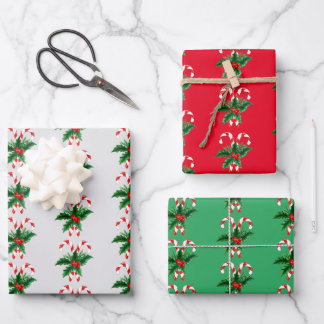 Christmas Candy Canes & Holly Wrapping Paper Sheets